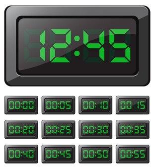 Horloge numérique vectorielle et minuteries avec chiffres verts