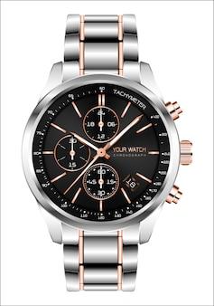 Horloge réaliste chronographe acier fond blanc cuivre.