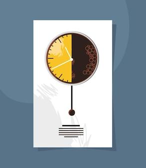 Horloge rectangulaire de l'heure du café