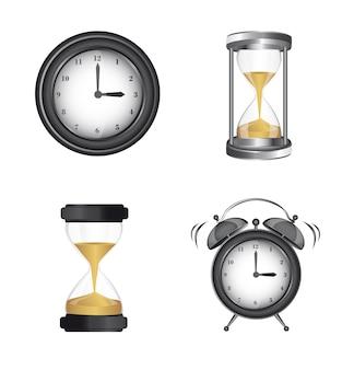Horloge réveil et icônes de sablier sur vecteur de fond blanc