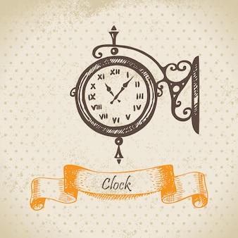 Horloge de rue. illustration dessinée à la main