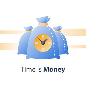 Horloge et sac, le temps c'est de l'argent, prêt rapide, crédit rapide, période de paiement, compte d'épargne, avantage financier, icône