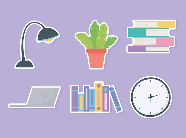 Horloge de travail de bureau livres lampe icônes d'ordinateur portable.