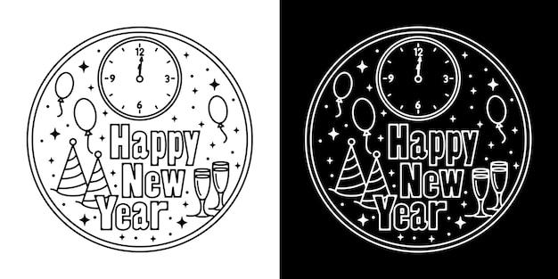 Horloge et verre happy new year monoline design