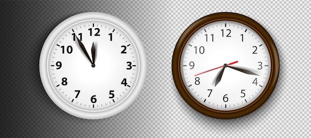 Horloges murales réalistes set illustration. visage transparent. mains noires. prêt à postuler. élément graphique pour les documents, modèles, affiches, dépliants.