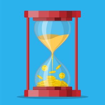 Horloges en sablier de style ancien avec des pièces en dollars à l'intérieur.