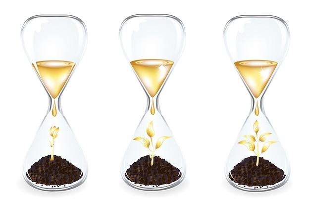 Horloges en verre avec pousses d'or avec filet de dégradé, isolé