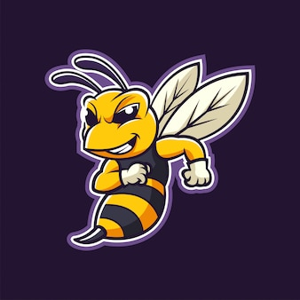 Hornet bee mascot cartoon logo illustration