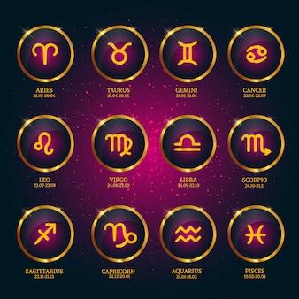 Horoscope avec dates. Zodiac Icons Collection sur fond d'étoiles