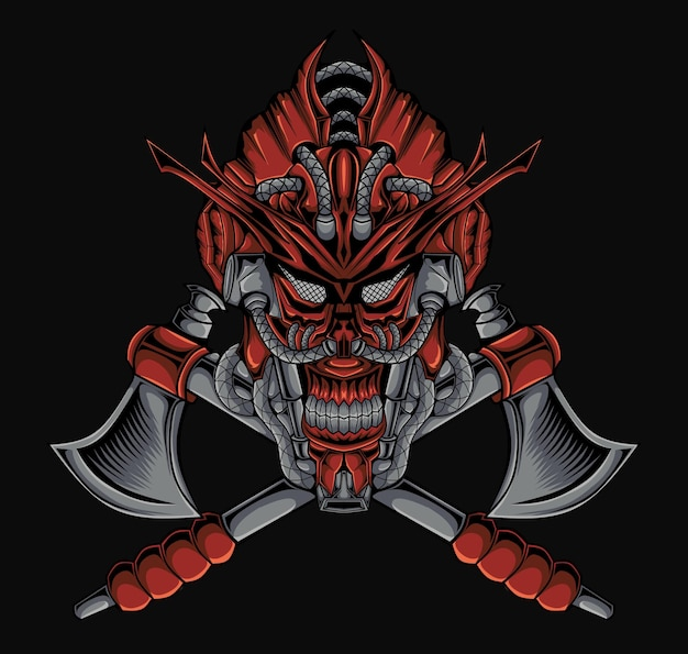 Horreur mecha crâne samouraï masque illustration