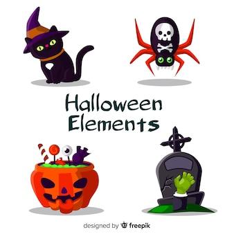 Horrifiques éléments d'halloween au design plat