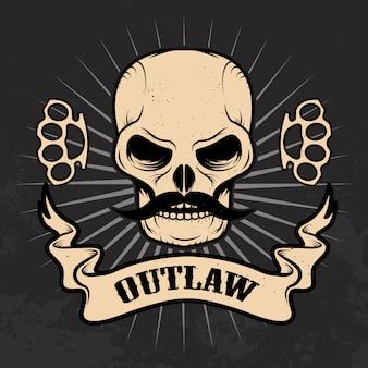 Hors la loi. crâne avec moustache