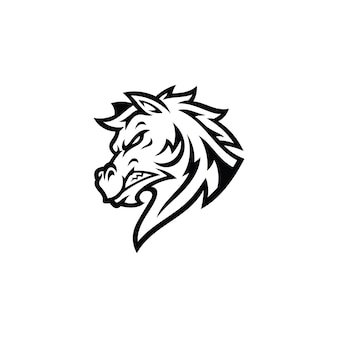 Horse stallion mustang head cartoon mascot illustration logo en couleur noir et blanc