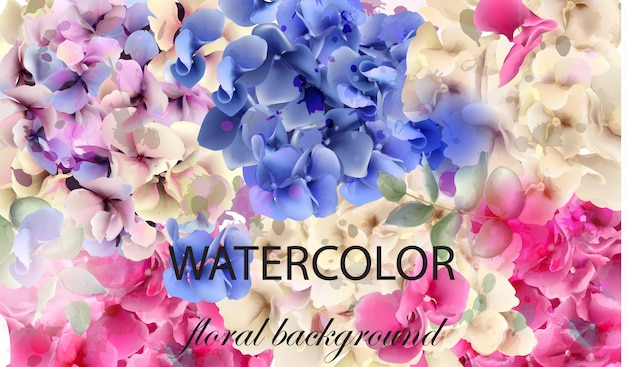 Hortensias aquarelle fond floral
