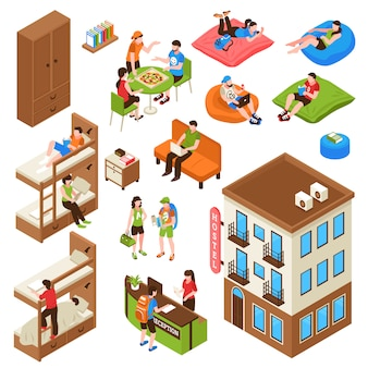 Hostel isometric icons set