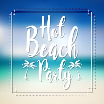 Hot beach party lettrage