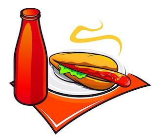 Hot-Dog appétissant avec du ketchup sur fond blanc