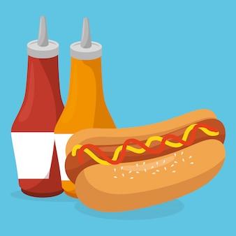 Hot dog avec des bouteilles de sauces fast food