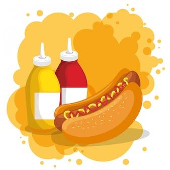 Hot dog et bouteilles de sauces