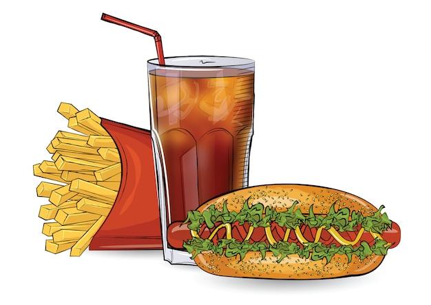 Hot-dog, gratuit et boisson dans le style de croquis sur fond blanc.