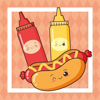 Hot-dog mignon, restauration rapide, ketchup et moutarde kawaii