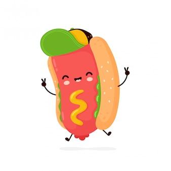 Hot-dog Mignon Sourire Heureux. Personnage De Dessin Animé. Vecteur Premium