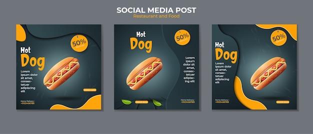 Hot-dog ou modèle de publication de médias sociaux de restauration rapide.