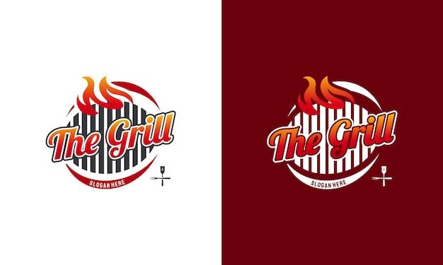 Hot grill logo template, barbecue grill, vintage barbeque label stamp logo design vecteur