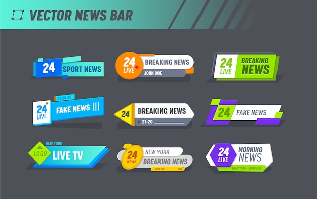 Hot news world breaking reportage ensemble de modèles de bannière de typographie