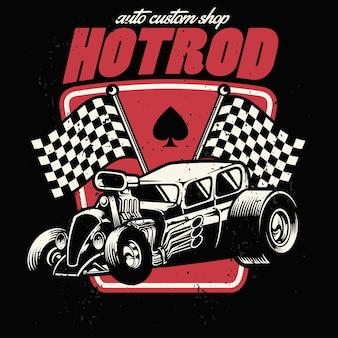 Hot rod auto boutique personnalisée bagde