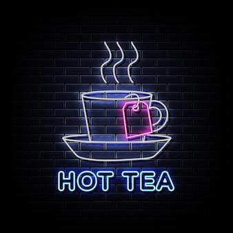 Hot tea neon sign sur mur noir