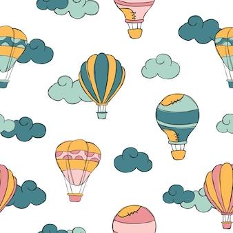 Hotairballon doodle modèle sans couture de vecteur.