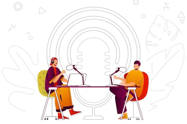 Hôte de concept web de podcast et invité diffusant des interviews en direct ou enregistrant