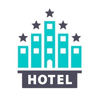 Hôtel 5 étoiles, icône turquoise gris sur fond blanc