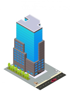 Hôtel, appartement ou bâtiment de gratte-ciel isométrique de vecteur