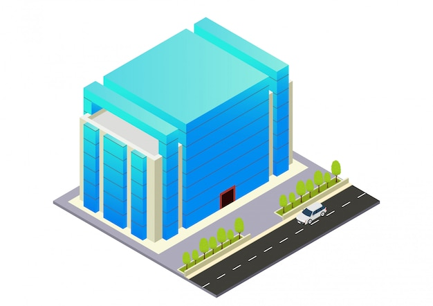 Hôtel, appartement ou immeuble de gratte-ciel isométrique