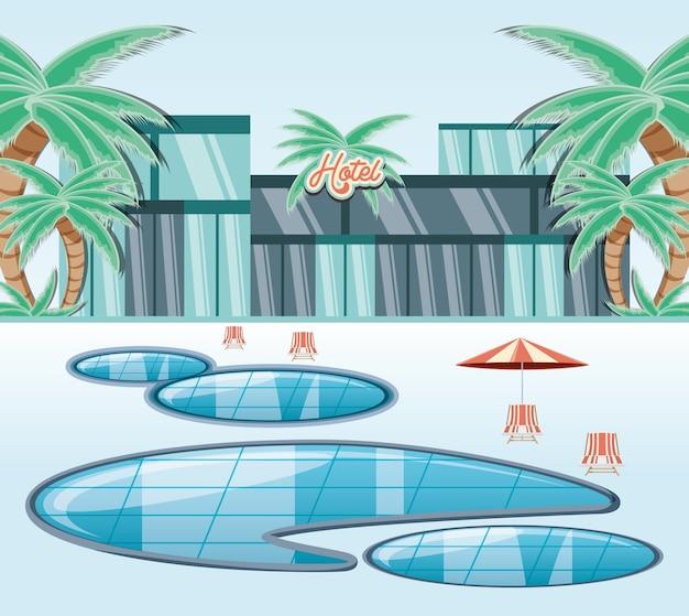Hôtel bâtiment vacances jours icône vectorilustration eau