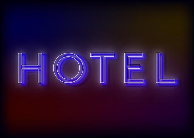 Hôtel néon. enseigne au néon d'hôtel, design pour votre entreprise. bright attire l'attention d'un panneau lumineux indiquant - hôtel.