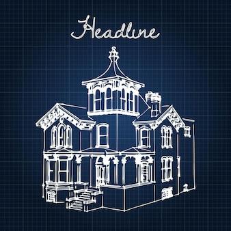 Hôtel particulier de ville de la fin du 19e et du début du 20e siècle. illustration d'un croquis dans le manuel de style.