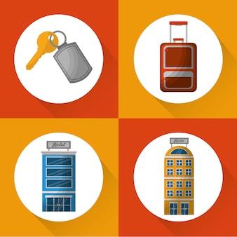 Hôtel service voyage set icônes vector illustration