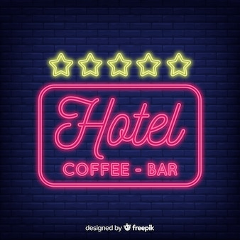 Hôtel, signe néon, fond
