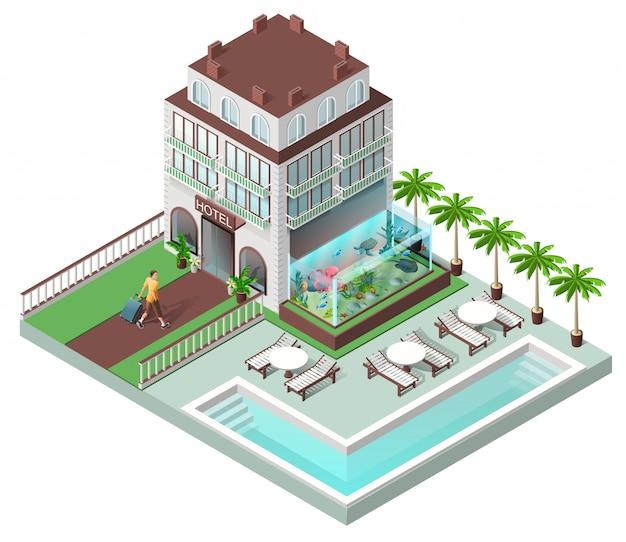 Hôtel touristique et chaises longues au bord de la piscine