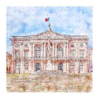 Hôtel de ville de lisbonne portugal illustration aquarelle croquis dessinés à la main