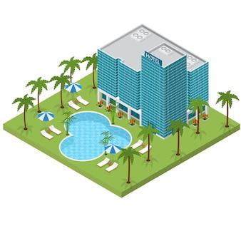 Hôtel de villégiature bâtiment vue isométrique voyage ou vacances architecture façade extérieure moderne pour le web. illustration vectorielle