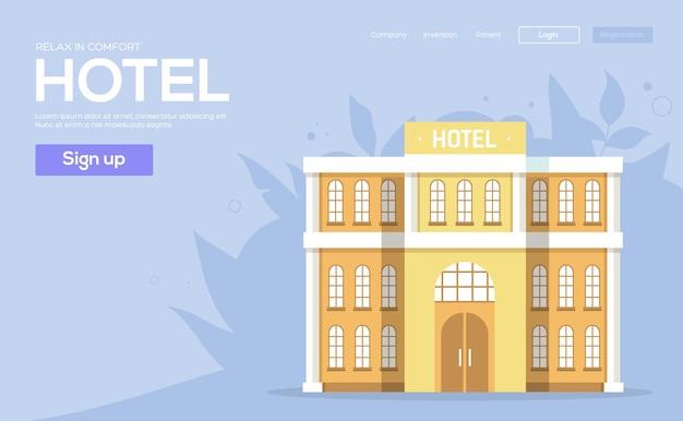 Hôtels flyear, bannière web, en-tête de l'interface utilisateur, entrer dans le site