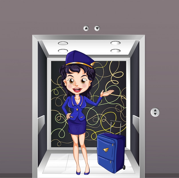 Une hôtesse de l'air à l'intérieur de l'ascenseur