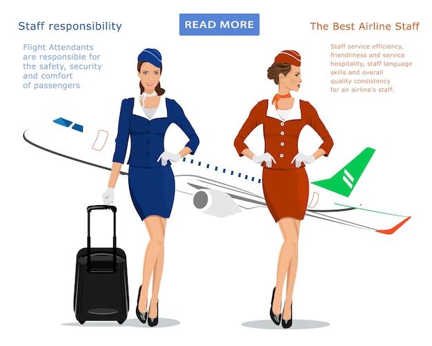 Hôtesse de l'air en uniforme bleu avec valise, hôtesse de l'air en costume rouge et avion volant sur fond.