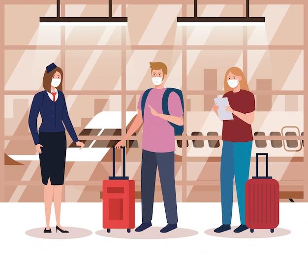Hôtesse et couple portant un masque de protection médicale dans le terminal de l'aéroport, voyageant en avion pendant la pandémie de coronavirus, prévention convid 19