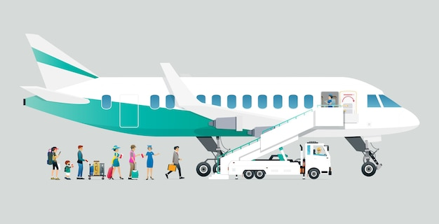 Les hôtesses de l'air permettent aux passagers de monter à bord de l'avion avec un fond gris.