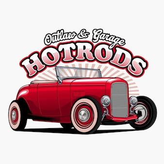 Hotrod rouge incroyable isolé